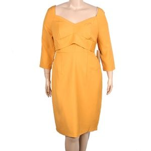 ELOQUII Yellow Sweetheart Neckline Dress